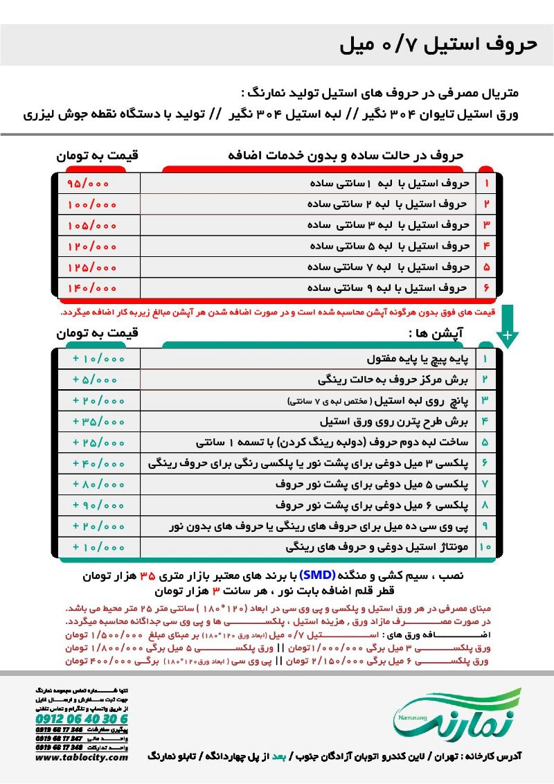 لیست قیمت حروف استیل