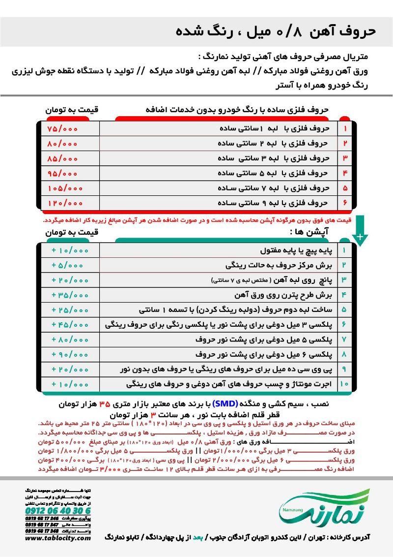 لیست قیمت حروف آهن 0.8 میل